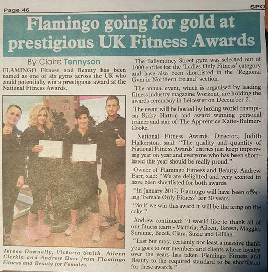 Flamingo going for gold at prestigious UK Fitness Awards